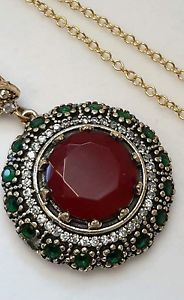 High Quality Gorgeous Ruby Emerald Topaz Pendant 925 Quality Necklace. Incredible keep sake. See it here, buy it here.