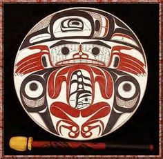 Drum made by Northwest coast indians for ceremonial purposes.
