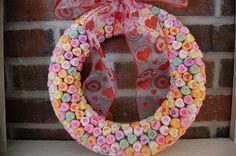 DIY valentine's day conversation heart candy wreath Linda Bauwin CARD-iologist Helping you create cards from the heart Valentine Candy Hearts, Valentine Tree, Vintage Valentine Cards, Valentine Day Love, Valentine Day Crafts, Valentine Ideas, Nursing Home Crafts, Conversation Hearts Candy, Candy Wreath