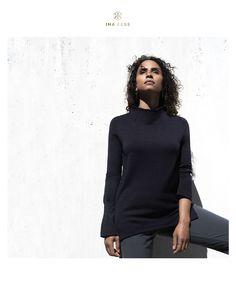 Blue multifunctional, elegant Merino Sweater made in Portugal. Long Cut, Sweater Making, Zurich, Stretch Fabric, Editorial Fashion, High Neck Dress, Elegant, Sweaters, Blue