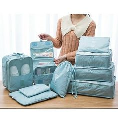 Pieces Waterproof Travel Organizer Waterproof Multi-function Travel Bags i. - Pieces Waterproof Travel Organizer Waterproof Multi-function Travel Bags is fashion-NewChic Packing Tips For Travel, Travel Essentials, Travel Ideas, Packing Hacks, Packing Cubes, Travel Luggage, Travel Bags, Travel Cubes, Travel Backpack