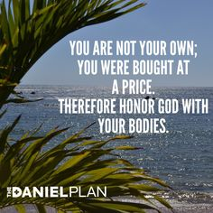 """1 Corinthians 6:19-20 says, """"Do you not know that your bodies are temples of the Holy Spirit, who is in you, whom you have received from God?  You are not your own; you were bought at a price.  Therefore honor God with your bodies.""""  In order to get healthy and stay healthy, it is critical for you to know why it is important.  What drives your desire to be healthy?  www.DanielPlan.com"""
