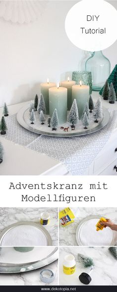 Winter Forest Advent DIY instructions: A small winter forest with model trees and deer is the perfect alternative for an advent forest winter winterbastelnkinder wintercoffee winterdeko winterflowers winterfotografie winterhouse wintermakeup winterpos Christmas Wreaths, Christmas Decorations, Table Decorations, Advent Wreaths, Christmas Ideas, Christmas Tables, Nordic Christmas, Reindeer Christmas, Modern Christmas