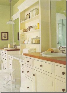 This old house bathroom idea    I need to do some thing this in front of part of our huge mirror between the sinks