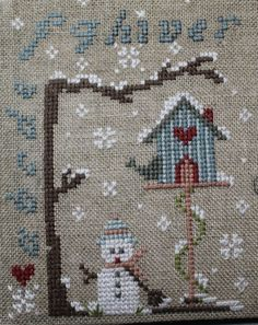 Courrier brodé Christmas Cross, Christmas Ornaments, Stitch 2, Xmas Cards, Quilting Projects, Cross Stitch Embroidery, Needlepoint, Snowflakes, Snowman