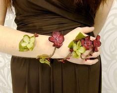 Flower Wrap Cuff, Flower Arm Band, Red and Green Fairy Flower Cuff, Boho Bracelet, Woodland Armband, Fairy Armband, Vine Flower Arm Cuff by RuthNoreDesigns on Etsy
