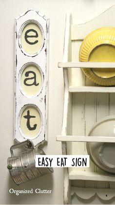Cute Diy Room Decor, Diy Home Decor, Farmhouse Style Decorating, Farmhouse Decor, Diy Upcycled Decor, Eat Sign, Dollar Tree Decor, Kitchen Signs, Kitchen Ideas