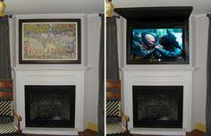 Hide flat screen TV with art