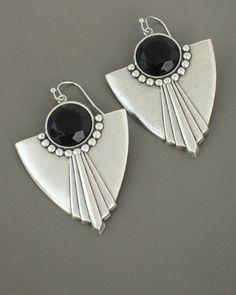 Art Deco Earrings  Silver Earrings  Black Earrings