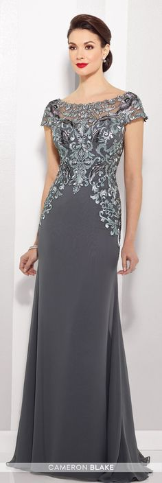 Cameron Blake - 216691 - Chiffon slim A-line gown with lace illusion cap sleeve and bateau neckline over a sweetheart bodice, dropped waist, V-back, sweep train. Matching shawl included.Sizes: 4 - 20Colors: Pewter/Gray, Navy Blue/Turquoise
