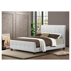 Modern Tufted Leather Bed Queen Size Upholstered White Platform Headboard Faux #HouseofHampton #Modern