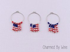 4th Of July Wine Charms - Flags (Set of 3), USA, Holiday charms, Summer cookout, Memorial Day on Etsy