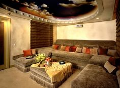 Cozy media room and look at that gorgeous ceiling!