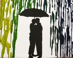 Handmade Encaustic Wax Painting - Rainbow Melted Crayon Art - Lesbian Gay Women Couple Under Umbrella in The Rain - 16x20 by FembyDesign