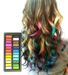 HAIR chalk- washable. Id like a set of chalk pastels from joanns to try this.