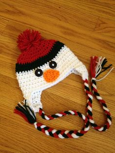 Snowman Christmas Crochet Hat with Braided Tassels Boy Girl Photo Prop. $17.00, via Etsy.