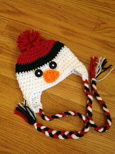 Snowman Christmas Crochet Hat with Braided Tassels Boy Girl Photo Prop. $17.00, via Etsy.
