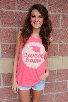 Oklahoma sweet home circle comfort colors tank top-more colors