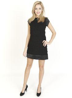 Black Dresses - Sheer Panel Shift Black Dress - http://www.blackdresses.co.uk
