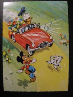1966..Vintage Old Walt Disney Postcard - Donald Duck and Mickey Mouse...