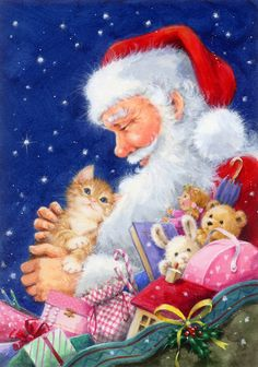 Christmas World, Christmas Time Is Here, Christmas Cats, Merry Christmas, Xmas, Winter Art, Christmas Pictures, Snowmen, Animal Drawings