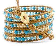 Turquoise Beaded Mix Wrap Bracelet on Henna Leather - Chan Luu