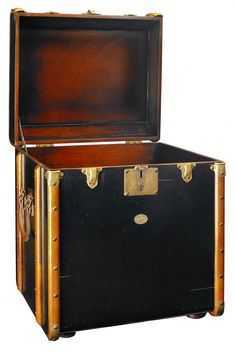 French Leather Steamer Trunk Circa 1910 leather and bentwood trunk