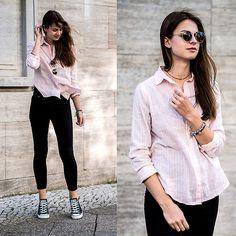 Pink Shirt, Black Jeans