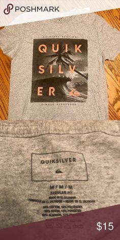 """9d096b34 Quicksilver Men's T-shirt Size Medium NWT. Grey T-shirt """"simple pleasures"""