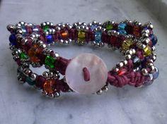 bracciale a due giri con perle di vetro e metallo - modello 4