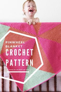 Crochet Pinwheel Baby Blanket Pattern - An energetic, playful and modern design for a crochet baby blanket. Use this pattern and colors of your choice to crochet your own custom creation. Enjoy!