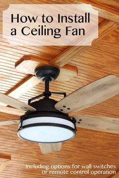 How to Install a Ceiling Fan. An electrical tutorial for you so you could see that installing a ceiling fan is not a difficult DIY project. Love the way that they did the ceiling Home Improvement Loans, Home Improvement Projects, Home Projects, Spring Projects, Pallet Projects, Ceiling Fan Installation, Diy Fan, Diy Home Repair, Outdoor Ceiling Fans