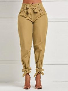 Women's High Waist Long Pants Casual With Sash Bow Pencil Pants For Female Ruffle Bow Tie Solid Work Tie Bottom Trousers Trousers Women, Pants For Women, Clothes For Women, Fashion Pants, Women's Fashion, Fashion Outfits, Casual Pants, Women's Casual, Long Pants