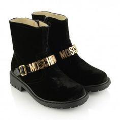 Moschino Black Velvet Logo Boots