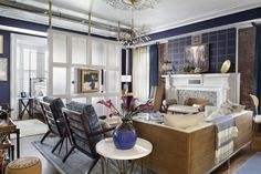 Open concept living space, living room & bedroom, navy blue, white and gray color scheme. Living Room, House Design, Room, Living Room Bedroom, Loft, Living Spaces, Small Living Room, House Rooms, Home Decor