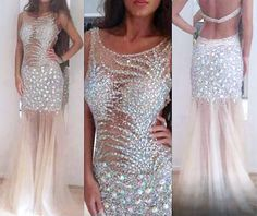 Gorgeous Sexy Prom Dresses,Backless Evening Dresses,Floor Length Prom Dress,See Through Prom Dresses