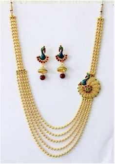 Designer Polki Necklace and Ear Rings Set   Gold Plated Brass Jewellery with Semi Precious Stones. Though the material is machine made, the necklace and the workmanship on the ear rings are handmade.