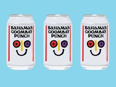 """A must try when visiting the Bahamas is the fizzy drink """"Goombay Punch"""". Known as """"the happy soda,"""" Goombay Punch tastes like pineapple and lemon. Bahamian Food, Drink Bottles, Lemonade, Punch, Curry, Things To Think About, Around The Worlds, Drinks, Pineapple"""