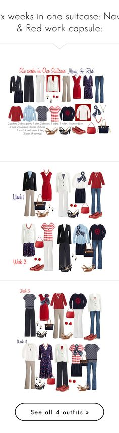 """Six weeks in one suitcase: Navy & Red work capsule:"" by kristin727 ❤ liked on Polyvore featuring Rafaella, Paige Denim, Karina, J.Crew, MICHAEL Michael Kors, Naturalizer, Cole Haan, Dooney & Bourke, Merona and Bling Jewelry"