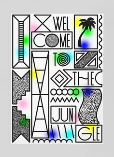Vincent Vrints / Studio Fluit - Welcome To The Jungle - 2012 Welcome Poster, Memphis Design, Welcome To The Jungle, Photography Illustration, Poster Layout, Typographic Design, Graphic Illustration, Illustrations, Collage