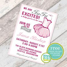 Tutu Baby Shower Invitation, Girly Shower, Baby Sprinkle, Party Printable,  FREE Thank You Card On Etsy, $15.00 | Baby Shower | Pinterest | Sprinkle  Party, ...