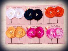 Satin flower bobby pins.
