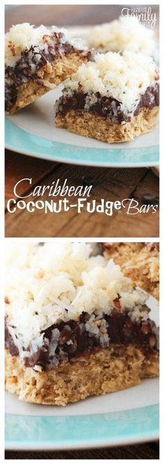These Caribbean Coconut Fudge Bars can't be beat! A soft oatmeal cookie crust with chocolate fudge and gooey coconut topping- an instant favorite!