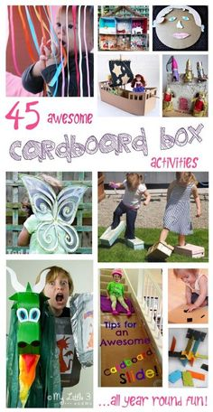 Don't throw away those cardboard boxes! Here's 45 fabulous cardboard box activities, arts and crafts for kids to keep them busy all year round.