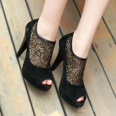 #Sexy #Black Peep-toe Platform #Heels with #Lace