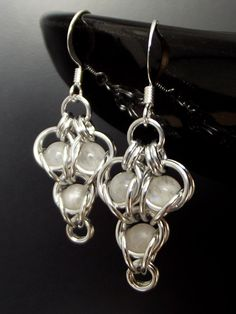 Moonstone Cluster Earrings from Aberrant Ginger. June birthstone, perfect bridal earrings. Australian based chainmaille jewelry.