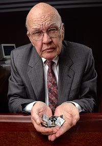 Jack St. Clair Kilby (November 8, 1923 – June 20, 2005) was an American electrical engineer who took part (along with Robert Noyce) in the realization of the first integrated circuit while working at Texas Instruments (TI) in 1958. He was awarded the Nobel Prize in physics in 2000.  He is also the inventor of the handheld calculator and the thermal printer.  Read on...
