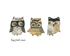 Henry, Frank and Roman - giclee print, owls, trio, collage, Susan Black