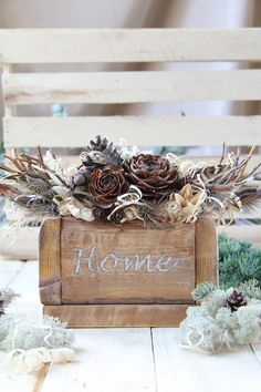 Dried bouquet of twigs and feathers in wooden box, Rustic farmhouse centerpiece, Boho shelf decor centerpiece planter box centerpiece bundle Feather Centerpieces, Candle Centerpieces, Front Door Colors, Wreaths For Front Door, Dried Flower Bouquet, Dried Flowers, Farmhouse Front, Rustic Farmhouse, Rustic Style
