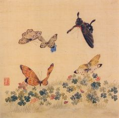 Flowers and Butterflies Paintings.화접도 This is a painting of flowers and butterflies, symbolizing happiness, love and harmony in a couple.